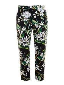 DOLCE & GABBANA Slim fit black green and white floral print pants Retail price $675 Size 34