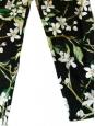 DOLCE & GABBANA Pantalon slim fit imprimé fleuri noir vert et blanc Prix boutique $675 Taille 34