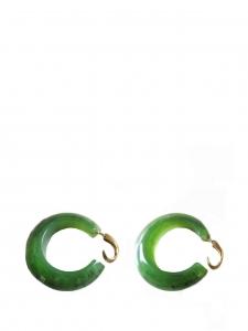 Green stone hoop clip earrings