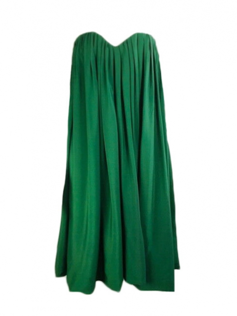 Strapless emerald green pleated silk-blend evening dress Retail price €2000 Size 40