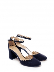 LAUREN Black suede leather scallop-edged d'Orsay pumps Retail price $695 size 38