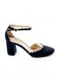 LAUREN Black suede leather scallop-edged d'Orsay pumps Retail price $695 size 38