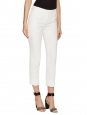 White daisy flower jacquard slim-leg cropped pants Retail price €660 Size 36