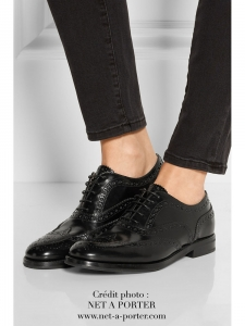 Black polished leather Oxford brogue flat shoes Retail price €590 Size 37