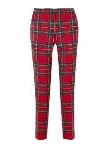 Pantalon slim fit en laine vierge imprimé écossais rouge et vert Prix boutique 550€ Taille 34