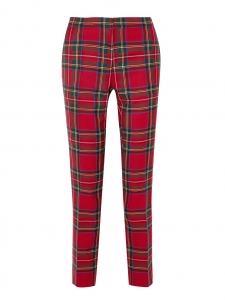 Red and green plaid print wool slim fit pants Retail price €550 Size XS
