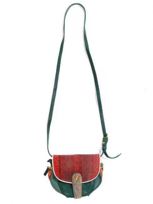 MOMO mini wallet and long strap bag in green red and orange goatskin and karung leathers Retail price €600
