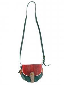 Sac à bandoulière MOMO en cuir lisse et lézard vert, rouge et orange Prix boutique 600€