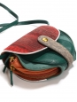 MOMO mini wallet and long strap bag in green red and orange calfskin and lizard leather Retail price €600