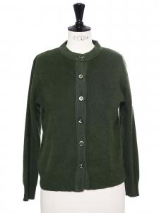Gilet col rond en laine et mohair vert fougère Taille 36