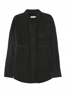 Chemise SIGNATURE manches longues en soie noire Px boutique $244 Taille S