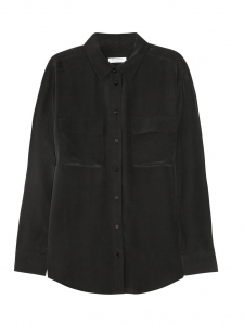 Signature black silk long sleeves shirt Retail price $244 Size S