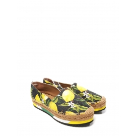 Lemon yellow, green and black print brocade platform espadrilles NEW Retail price €639 Size 38