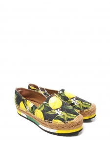 DOLCE & GABBANA Lemon yellow, green and black print brocade platform espadrilles NEW Retail price €639 Size 38