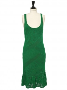 Mid-length green knitted deep décolleté and open back dress Retail price €340 Size L