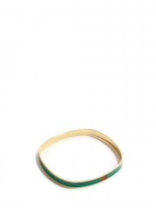 Emerald green enamel and gold bracelet