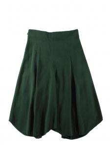 Mid-lenght high waist cady dark green crepe skirt Retail price $995 Size 38