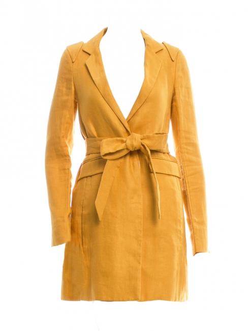 Manteau veste ceinturé en lin jaune Prix boutique 1100€ Taille 38