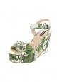 Sandales compensées et plateforme fleuri vert jaune citron et blanc Prix boutique 575€ Taille 37