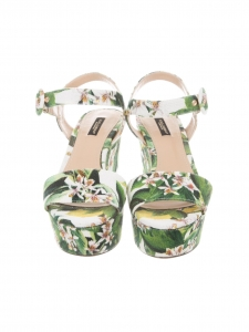 Green, white and yellow lemon tree flower print canvas BIANCA wedge sandals Retail price €575 Size 37