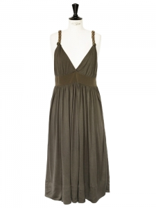 Khaki green silk jersey cocktail dress with deep V décolleté and open back Retail price €1000 Size 38