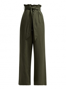 Large high waist belted pants in olive green linen Retail price €365 Size 40