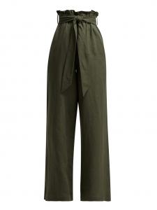 Pantalon large taille haute ceinturée en lin vert olive Prix boutique 365€ Taille 40