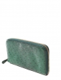 Green ostrich leather continental zipped wallet or clutch Retail price €595