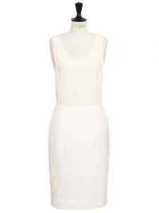 High waist white linen and cotton pencil skirt Size 38