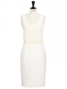 Jupe crayon taille haute en lin et coton blanc Taille 38