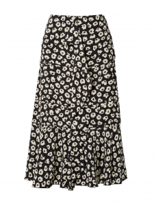 Ruffled navy blue and ecru floral-print silk crepe de chine midi skirt Retail price €950 Size XS