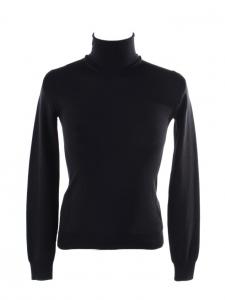 Pull col roulé en laine vierge noire Prix boutique €600 Taille 34