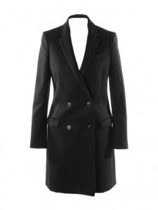 Luxueux manteau mi-long double boutonnière en laine noire Prix boutique 1950€ Taille 36