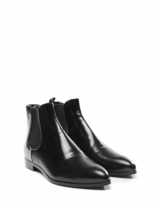 Black leather pointy toe Chelsea flat boots Retail price €750 Size 36.5
