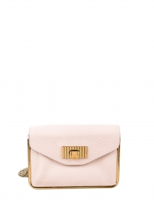 Small SALLY powder pink grained leather cross body bag with gold chain Retail price €1320