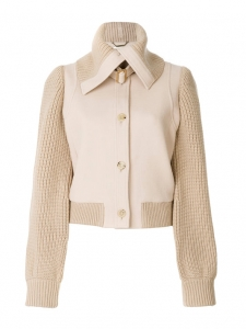 Pale blush pink wool and beige knit bomber jacket Retail price €1990 Size 38