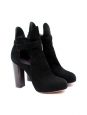 Black suede low boots with wooden heels Retail price €950 Size 36.5