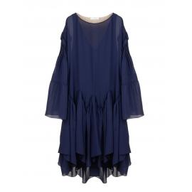 Robe manches longues à godets en georgette de soie bleu ocean Prix boutique 3000€