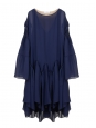 Ocean blue silk georgette maxi dress with godet and long sleeves dress Retail price €3000