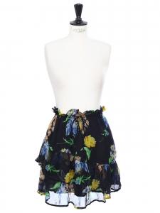 Jupe Louvre en mousseline noire imprimée fleuri jaune bleu vert Prix boutique 195€ Taille 36
