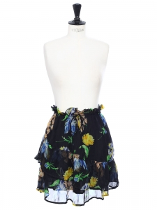 LOUVRE green yellow, black and blue floral printed chiffon skirt Retail price €195 Size 36