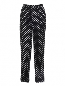 Black and white polka dot crepe wide-leg pants Retail price €175 Size S