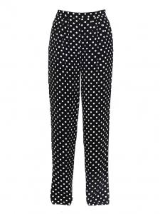 Pantalon taille haute en crêpe noir à pois blancs Prix boutique 175€ Taille 36