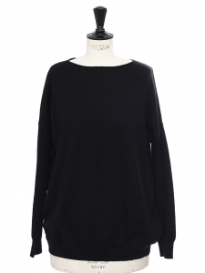 Black cashmere round neck sweater Retail price €280 Size S