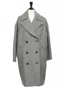 POISY DAY Heather grey oversized double coat NEW Retail price €1275 Size 36 to 42