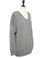 Light grey wool and alpaca oversized V neck sweater Retail price €650 Size 38