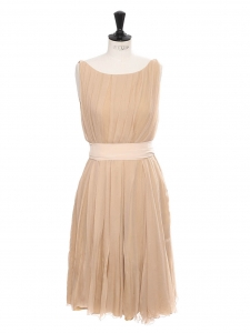 Beige pink silk chiffon midi dress with ribbon belt Retail price €2500 Size 36
