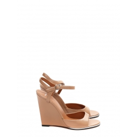 Pink nude leather ankle strap wedge sandals NEW Retail price $795 Size 40