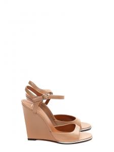 Sandales compensées à bride cheville en cuir lisse nude rosé NEUVES Prix boutique 700€ Taille 37