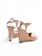 Pink nude leather ankle strap wedge sandals NEW Retail price $795 Size 37